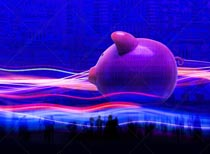 A piggy bank is immersed in streaming data in a stock photo about savings, investment, finance and big data.