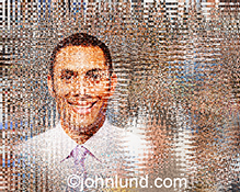 An African American executive's portrait is seen as a complex assembly of pixels in a stock photo that illustrates concepts of online business, cloud computing, a digital and distributed workforce, and communications technology.