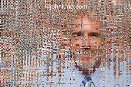 An executive portrait dissolves into pixelated chaos in this stock photo representing the digitization of the work place, online work forces, and communications technology.