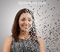 A woman is partially deconstructed into pixels in an image about digital assistants, online teams, and work in the digital age.