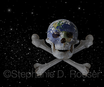 Earth, in outer space, merges into a skull and crossbones in a stock photo about a poisoned planet and/or mankind's destruction of our planet.