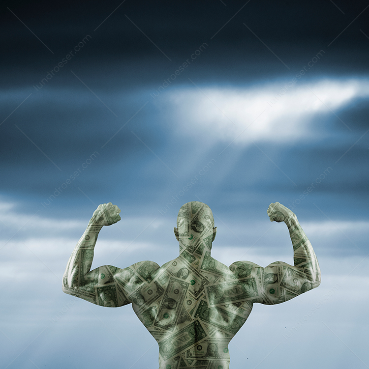 The power of money is shown in this stock photo of a body builder, flexing his muscles, and superimposed over U.S. dollars.