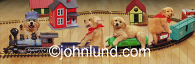 Cute picture of puppies riding a toy train in this animal antics series. Four adorable golden retriever puppies playing with their train set.
