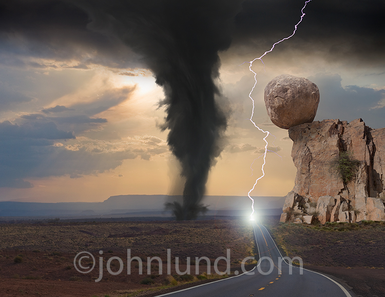 Challenges and hazards on the road of life are illustrated in this stock photo of a tornado approaching, and a lighting bolt striking, a road that stretches beneath a huge, precariously balanced boulder.
