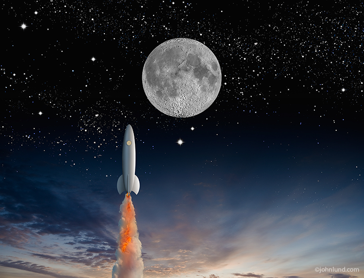 A rocket ship shoots through the twilight sky headed towards the moon leaving a trail of smoke and flame as it blasts through the atmosphere.