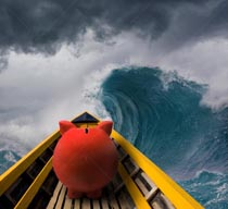 Financial challenges and difficulties are portrayed in this piggy bank stock photo of a pink piggy bank in the bow of a boat in rough seas under stormy clouds.