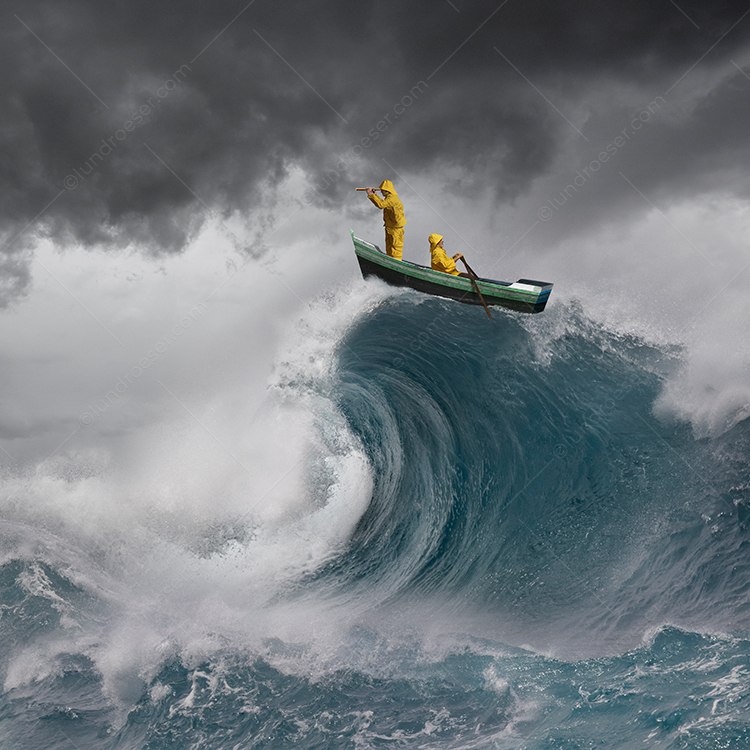 A man in a rowboat looks through a spyglass while another sailor rows through storm ocean waters in a stock photo about vision, perseverance, teamwork and conquering adversity.