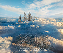 A square rigged sailing ship navigates through the clouds high above a city in this stock photo about fantasy and imagination.