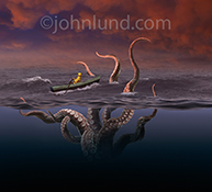 Red sky in the morning, sailors take warning is certainly evident in this humorous stock photo of a sailor, unknowingly rowing his rowboat towards giant octopus tentacles rising up out of the sea in an image about risk, danger, and vigilance.