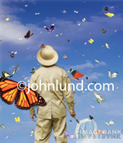 In this funny stock photo a lepidopterologist, one who searches for butterflies, holds a net in his hand and is covered in butterflies and moths...information overload!