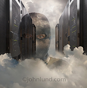 A server hacker in the cloud is seen in this stock photo of a hacker wearing a ski mask, and emerging from a cloud bank in the middle of a server room...an unmistakable visual of the dangers of cloud-based computer network servers.
