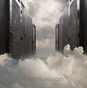 Servers are seen lined up in a cloud bank in a stock photo about cloud computing and the equipment behind it.