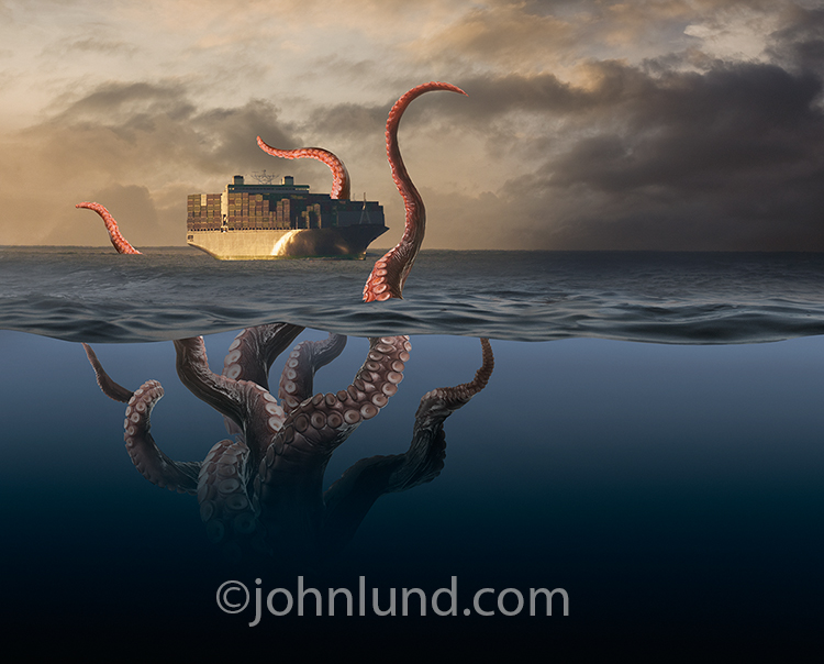A ship at sea is threatened by the tentacles of a giant aquatic monster in a metaphor for supply chain problems, business and transportation challenges, and shipping dangers.
