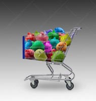 A shopping cart is filled with colorful piggy banks in a stock photo about shopping for loans, savings accounts, and investments.