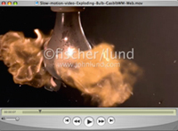 In ultra slow motion a Light Bulb explodes into flames, then drips fire