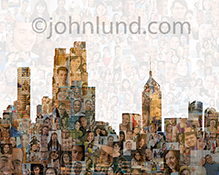 A social media networked city is seen in this stock photo montage of over two hundred individual model-released portraits combined with a city skyline. The image is multi-ethnic, multi-cultural, age diverse and gender balanced truly giving this image a gl