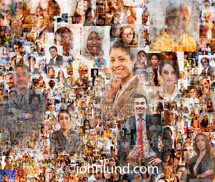 Social Media and social networking are illustrated in this stock image combing two hundred individual portraits with a wide range of ethnic diversity, age ranges and with gender balance.