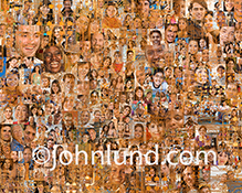 This social media networking stock photo features a montage of over two hundred individual model-released portraits combined with an overlay of computer circuitry.