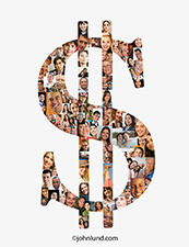 A dollar sign is filled with people's faces illustrating the concept of crowd funding, fund raising, and co-op equity distribution.