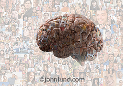 A human brain is superimposed over a background composed of over two-hundred individual portraits in a social media image about crowd sourced ideas, collective intelligence, and Internet ideas.