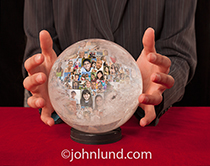 A woman's hands cradle a crystal ball that is filled with people's portraits in a metaphor for looking at the future of social media and networking.