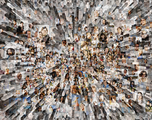 Social media and big data converge in this stock photo about networking, social media, and big data.