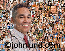 A doctor's portrait is superimposed over a background of more than a hundred social media portraits in this image about networking,