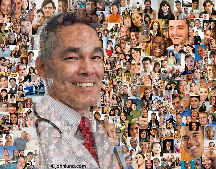 "A doctor's portrait is superimposed over a background of more than a hundred social media portraits in this image about networking, ""tribes"", communities and fan bases."