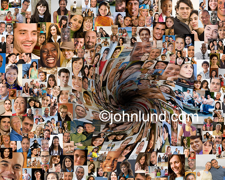 Social media down the drain is the obvious headline for this stock image, a composite of hundreds of social media portraits, circling down into a dark hole...and indication of social media failure and wasted social networking efforts.