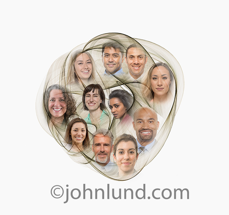 A social media network globe, in the form of light trails, and filled with individual portraits, is a social media and networking stock photo featuring a white background, ample copy space, and flexible cropping options.