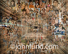 Entering into and navigating social media and social networking are the main concepts in this stock photo of  hundreds of individual portraits double exposed with a long corridor or hallway created from streaking lines of light. Also illustrated are the i