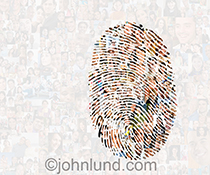 Social media and security issues are front and center in this image of hundreds of individual portraits combined into one image with a fingerprint integrated into the montage of this social networking stock photo.