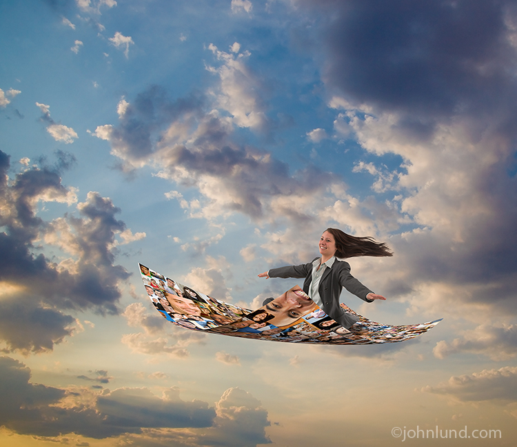 A smiling young woman in business attire delights in a magic carpet ride on a rug created from social media portraits in a photo about the benefits of social networking.