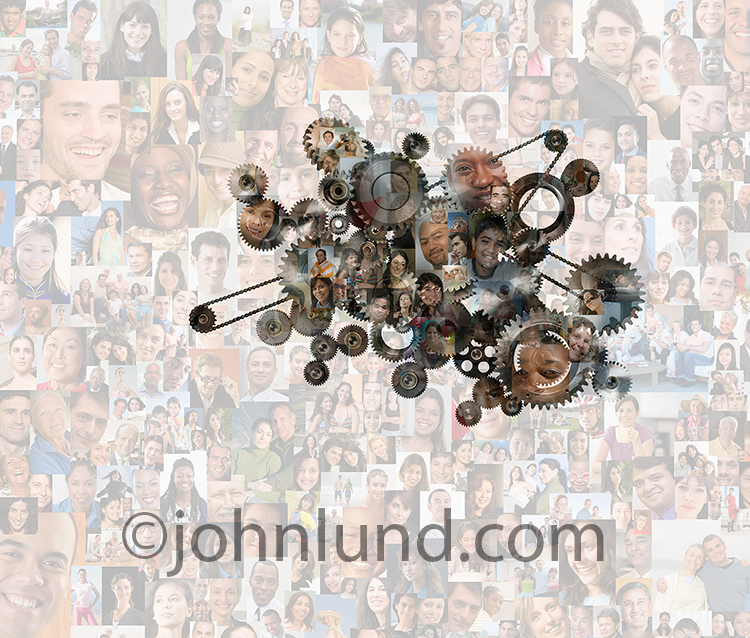Social networking infrastructure is the primary concept of this stock photo created with a double exposure of gears, sprockets and chains along with over two hundred individual, model release, social media portraits.