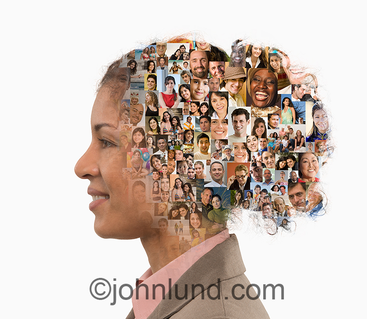 A woman in profile has her head filled with people's portraits in an image about social media and connections.