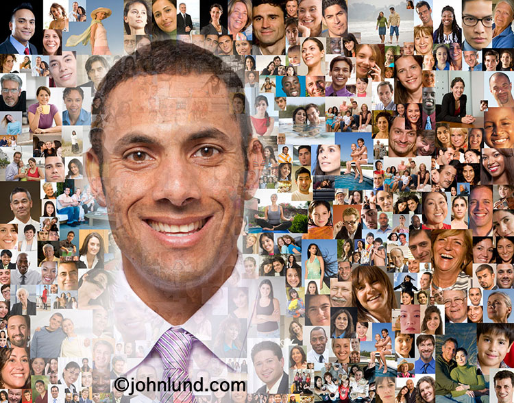 In this photo of a smiling man his portrait is montaged with a background composed of over a hundred individual portraits creating a powerful visual to illustrate issues of social media and social networking.
