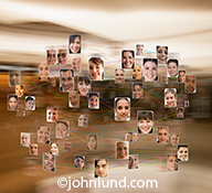 A social networking diagram, this photo combines numerous individual portraits with connecting lines to illustrate the concept of social media connections and networking.