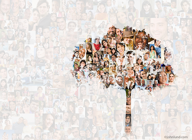 "The silhouette of a tree is superimposed over a background composed of over two-hundred individual social media portraits in a stock photo about the growth and ""family tree"" aspects of social networking."