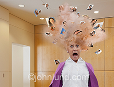 A woman's head explodes with portraits in a funny stock photo about social media overload.