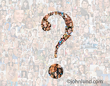 This photo illustrates the concept of social media questions by having a photo composite of people portraits gray-out but revealing a question mark of faces not grayed out but clear and visible.