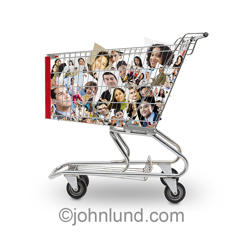 "A shopping cart is filled with portraits of people in a stock photo about social media, buying ""likes"", and the endless efforts to get more friends while participating in social networking."