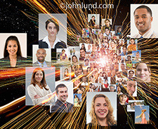 Social media portraits zoom out from the center of a photograph that includes streaking lights representing data, speed and motion in a social networking image.