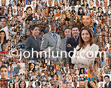 In this social media teamwork image five individual business people stand amid a montage of well over one hundred individual portraits. The team might be in charge of social media or developers of a new social network.