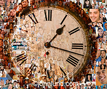 It is time for social networking in this stock image featuring a clock face superimposed over hundreds of individual social media portraits.  The image has a satisfying richness and complexity due to the individual photos combined with the graphic simplic