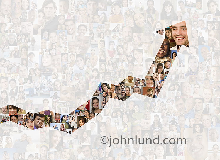 Social media is trending upwards in this photo featuring an ascending graph created from hundreds of model released inividual portraits.