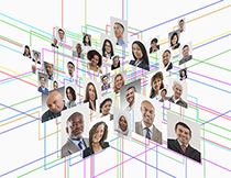 In this picture a group of people portraits intersect on two different planes and are further linked together by colored lines that form a geometric pattern depicting hypothetical social network structures.