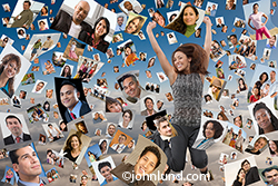 A woman jumps for joy amid a shower of portraits raining down from above in an image about success in social networking and photo sharing.