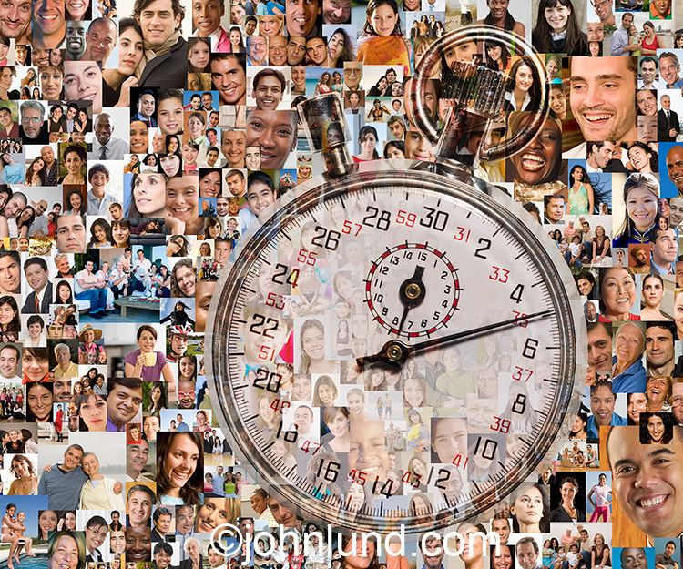 It's social networking time...as evidence by this social media stock photo of a stopwatch superimposed over a background created from over one hundred model-released portraits.
