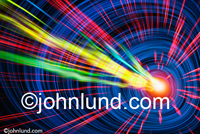 Concept stock photo of lights streaking through a tunnel of blue light indicating communications technology and bandwidth.  Wild streaking colored lights.