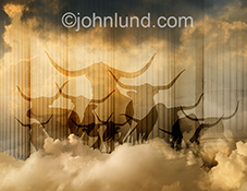 Stampeding bulls rampage through clouds in this stock image about online investing, finance in the cloud, and opportunities in cloud computing.